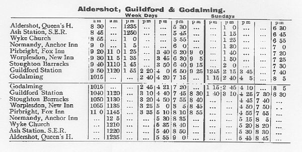 Aldershot and Godalming via Normandy and Guildford, 1914 Time Table