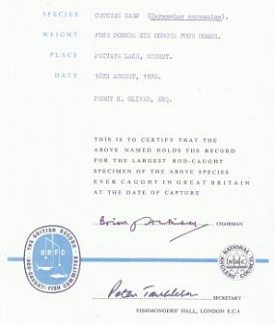 National Anglers Council certificate 16th August 1970