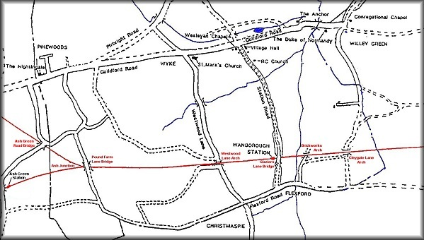Map of the Railway's course through the Parish