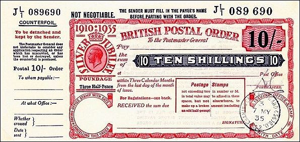 British Postal Order - (Return to Post Office)