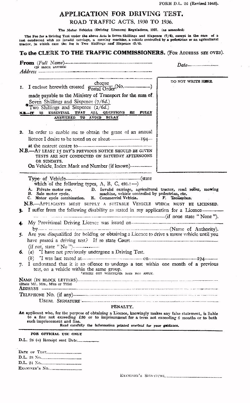 Driving Test Application Form (Click for Side 2)