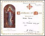 Sunday School Attendance Certificate - Click for an enlargement